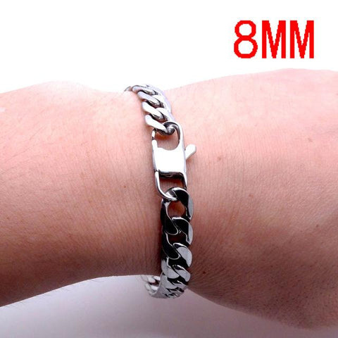 Men Women Stainless Steel Bracelet 6/8/12 mm 8 Inches Curb Chain Vintage Jewelry Punk Fan