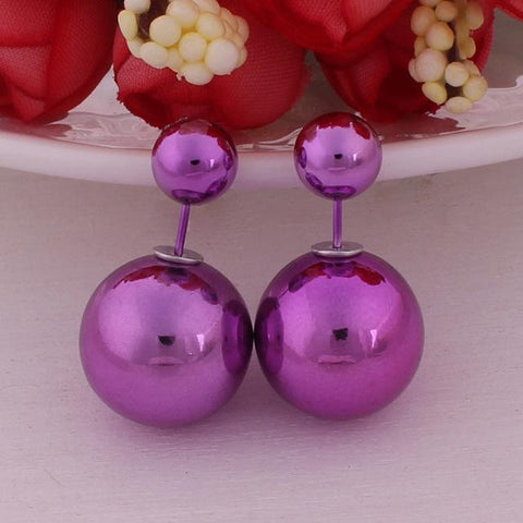 12 Colors Super Shining UV Double Sides Big Pearl Stud Earrings Classic Double Ball Beads Earrings - Markand Design
