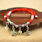 1PC Fashion Ethnic Red Rope Chain Adjustable Silvery Pendant Elephant Dragonfly Palm Cross Heart Women Weaven Rope Bracelets - Markand Design