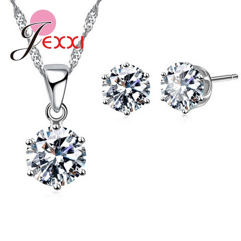 Fashion 925 Sterling Silver Jewelry Sets Women High Quality 17 Colors CZ   Necklace&Stud Earrings