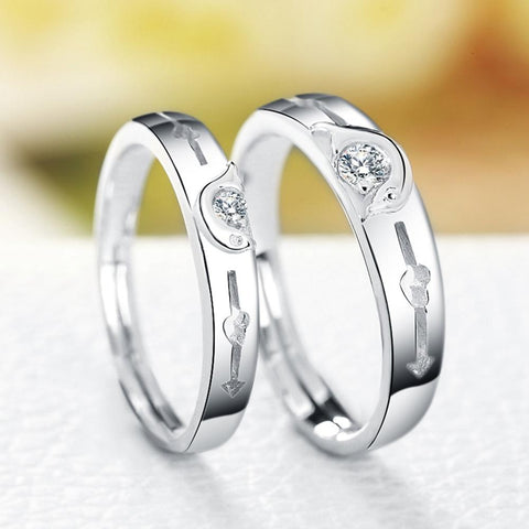 sterling-silver-jewelry Anniversary Ring Pure Sterling Silver 925 Jewelry AAA Cubic Zirconia Couple Rings For Women / Men - Markand Design