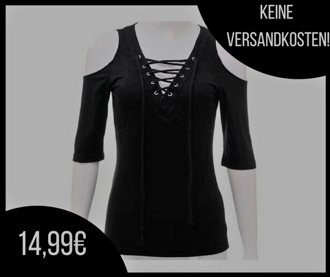Schwarze Lace Up Blouse
