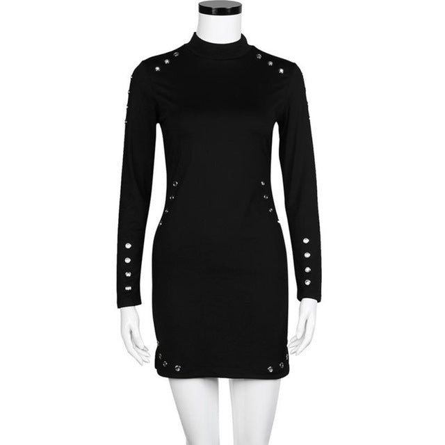 Feitong Women Sexy High-Necked Long Sleeve Punk Gothic Dress Clothes Hole Slim Autumn Black Dress Nightclub Party Dresses #ET1