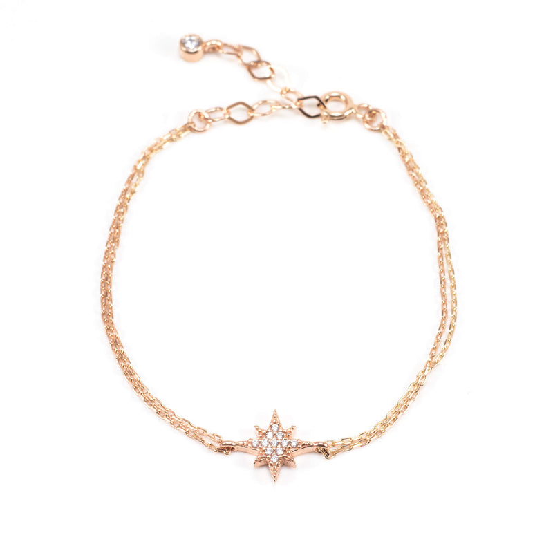 Inject a dose of star into your daytime look with our lovely Star Bracelet.  This lovely bracelet is made of Rose Gold Plated Sterling Silver and Crystals.