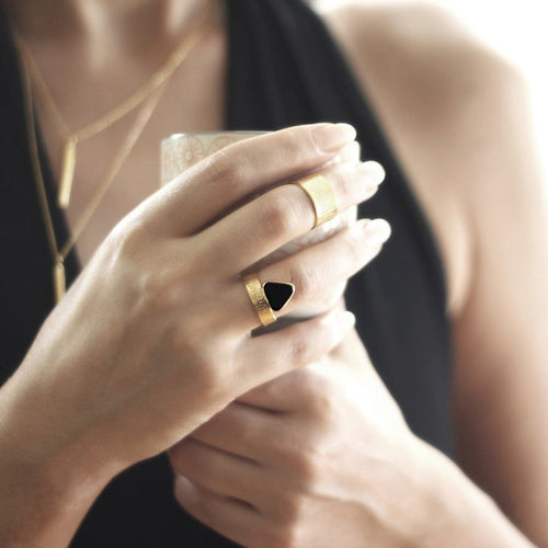 Triangle Onyx Fan Ring