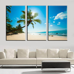 3 Panel Paradise Beach Living Room Wall Art