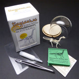 Brontosaurus tiny skeleton laser cut bones, instructions, tools, display dome, and packaging by Tinysaur