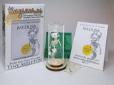 Medusa All-in-one miniature skeleton model kit with laser-cut bones, glass display dome, instructions, tweezers, glue, a magnifier, and packaging by Tinysaur.us
