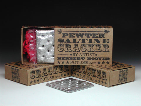 Famous pewter sculpture of Saltine Cracker in a retro gift box by POTUS31.com