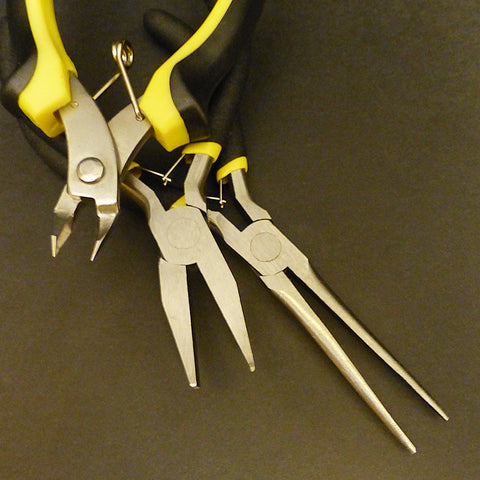 Three plier tools for assembling Metal Earth kits
