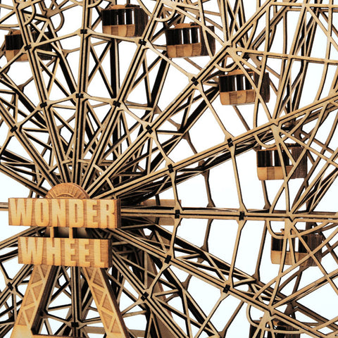 "14"" tall Wood Wonder Wheel model sculpture close up by everythingtiny.com"