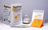 Woolly Tiny all-in-one miniature skeleton model kit with laser-cut bones, glass display dome, instructions, tweezers, glue, a magnifier, and packaging by Tinysaur.us