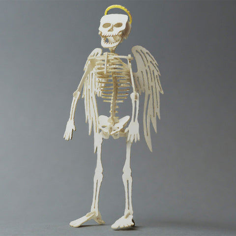 Assembled Angel bare bones miniature skeleton Tinysaur model