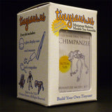 Chimpanzee All-in-one miniature skeleton model kit packaging by Tinysaur.us