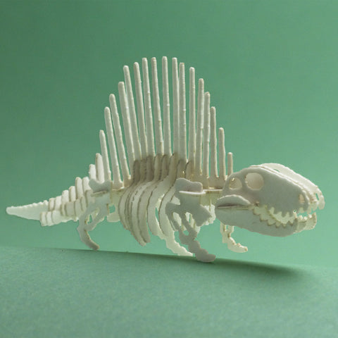 Assembled Dimetrodon miniature skeleton model by Tinysaur.us