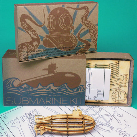 Miniature Wood Model Submarine Kit