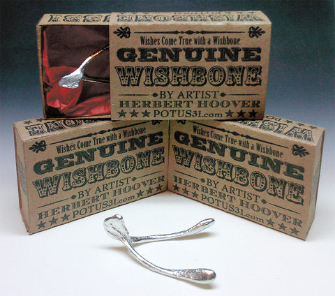 Wishbone cast in pewter with retro box