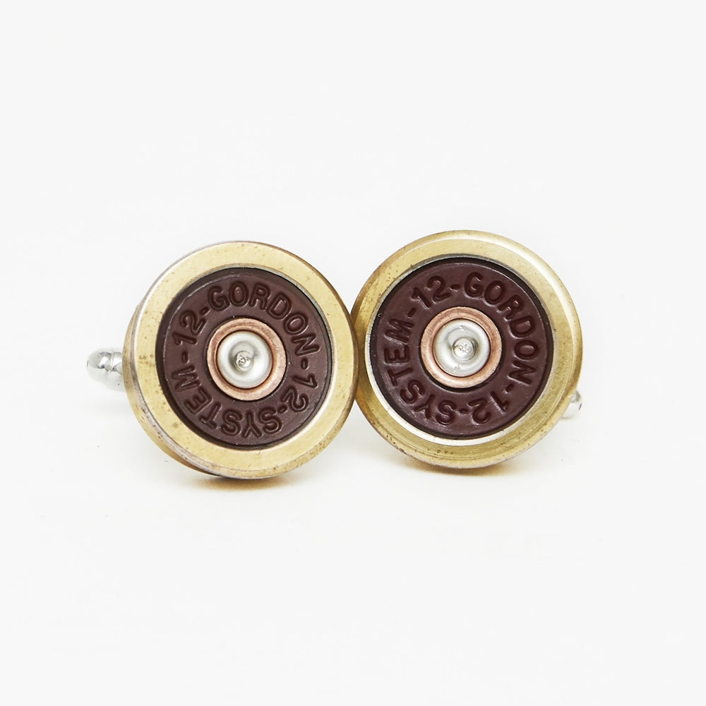 Hicks & Hide 12bore Cufflinks Brass Red Gold - RedMillsStore.ie