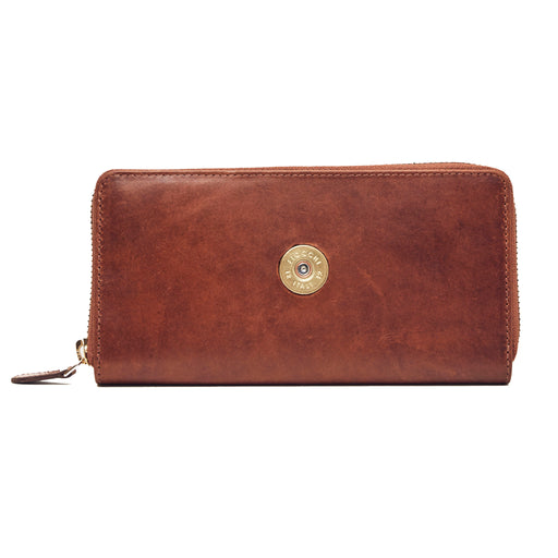 Hicks & Hide 12 Bore Zip Around Purse Cognac Leather - RedMillsStore.ie