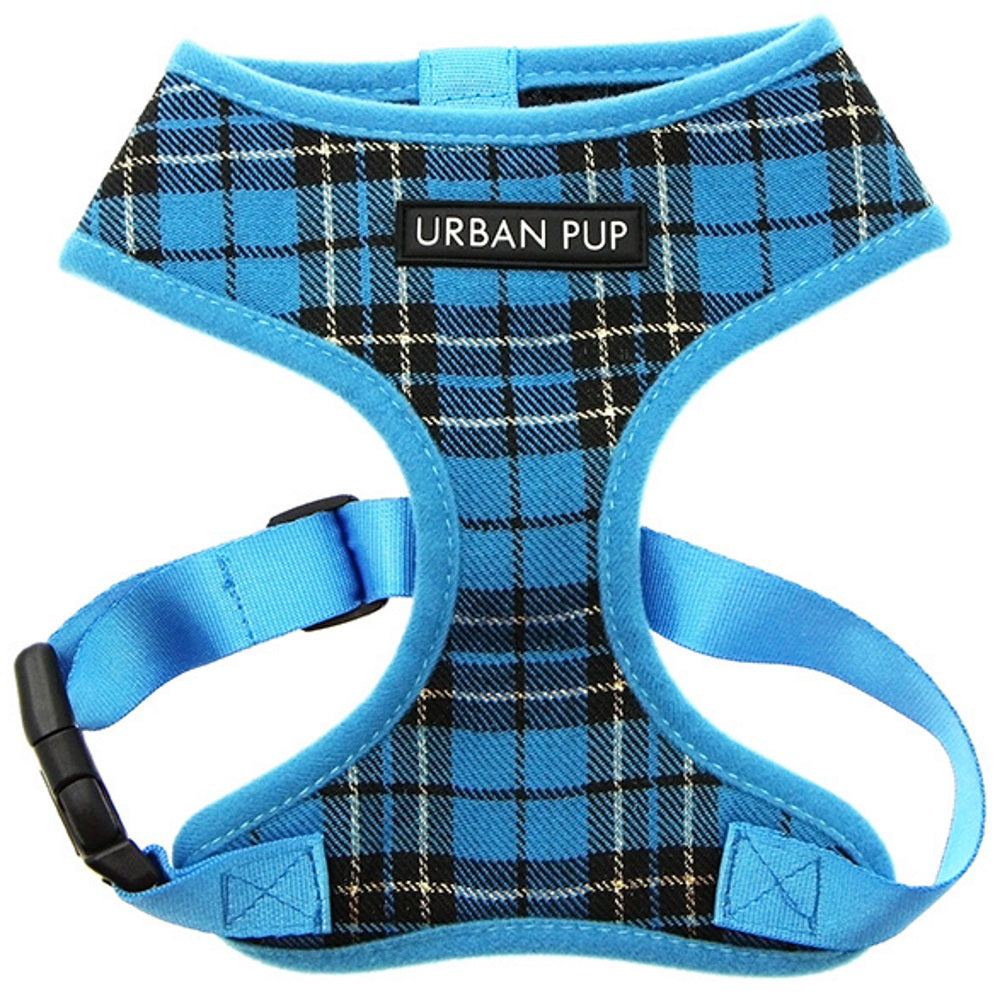 Urban Pup blue tartan harness