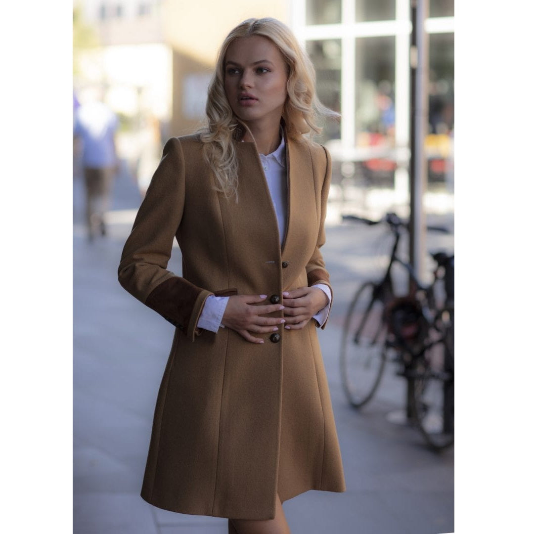 Welligogs Oxford womens camel wool coat