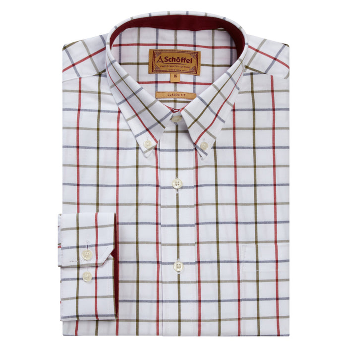 Schoffel Men's Brancaster Classic Shirt Red/Navy/Olive Wide