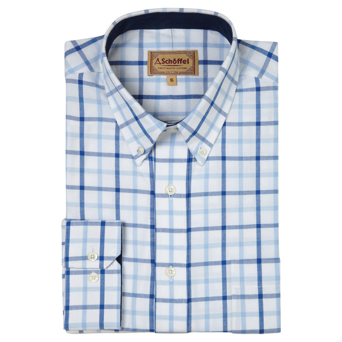 Schoffel Men's Brancaster Classic Shirt in Blue Check