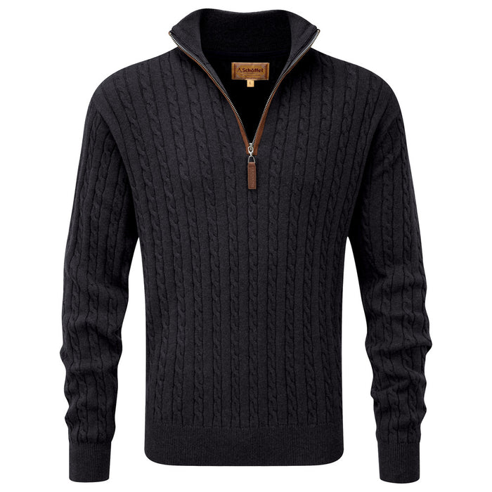 Schoffel Men's Cotton Cashmere Cable 1/4 Zip Jumper in Charcoal