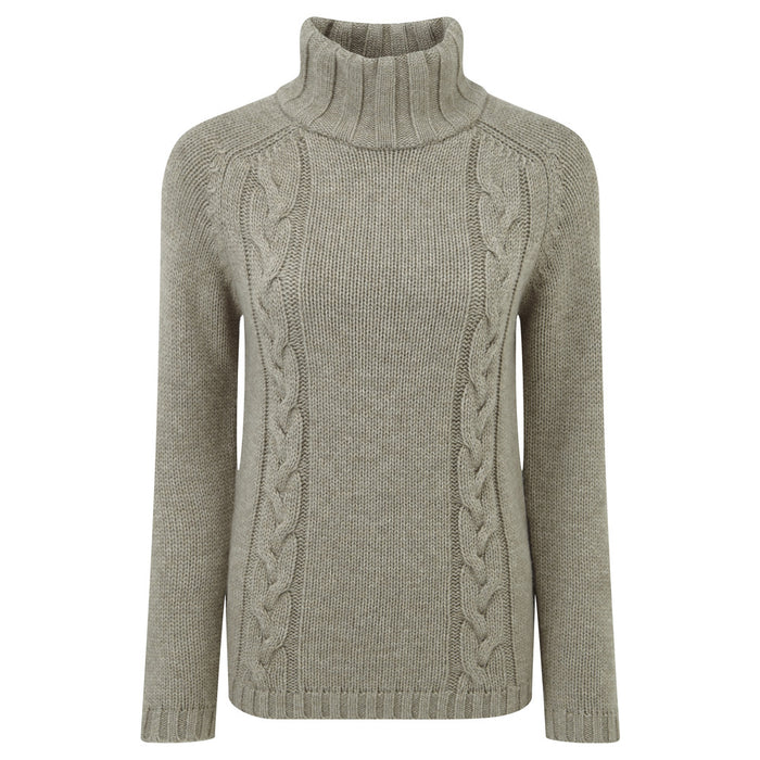Schoffel Women's Merino Cable Roll Neck Mink