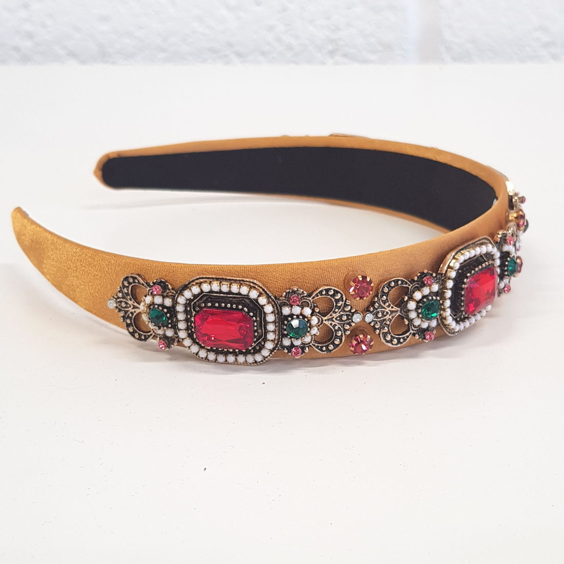 Dani ochre satin headband with coloured stones - RedMillsStore.ie