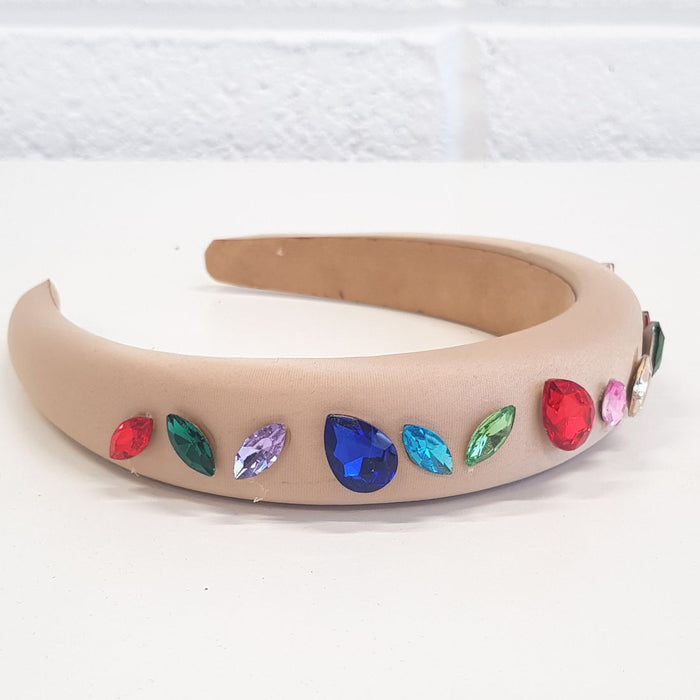 Laurie nude satin headband with coloured stones - RedMillsStore.ie