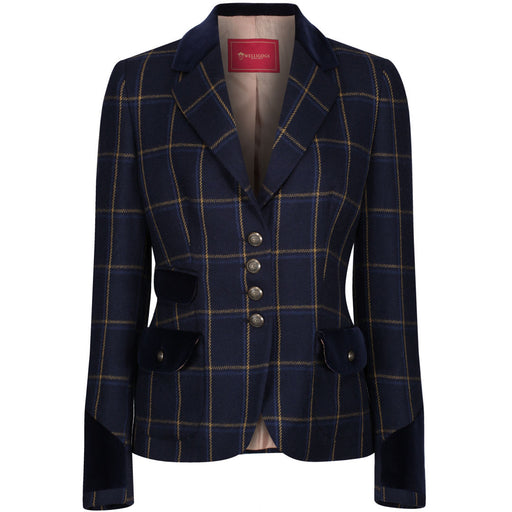 Welligogs 'Belize' womens wool check blazer in navy - RedMillsStore.ie