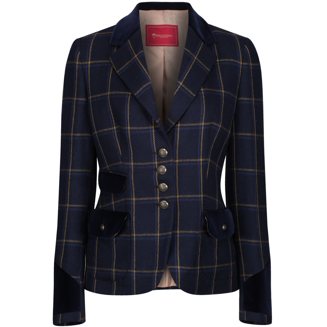 Welligogs 'Belize' womens wool check blazer in navy