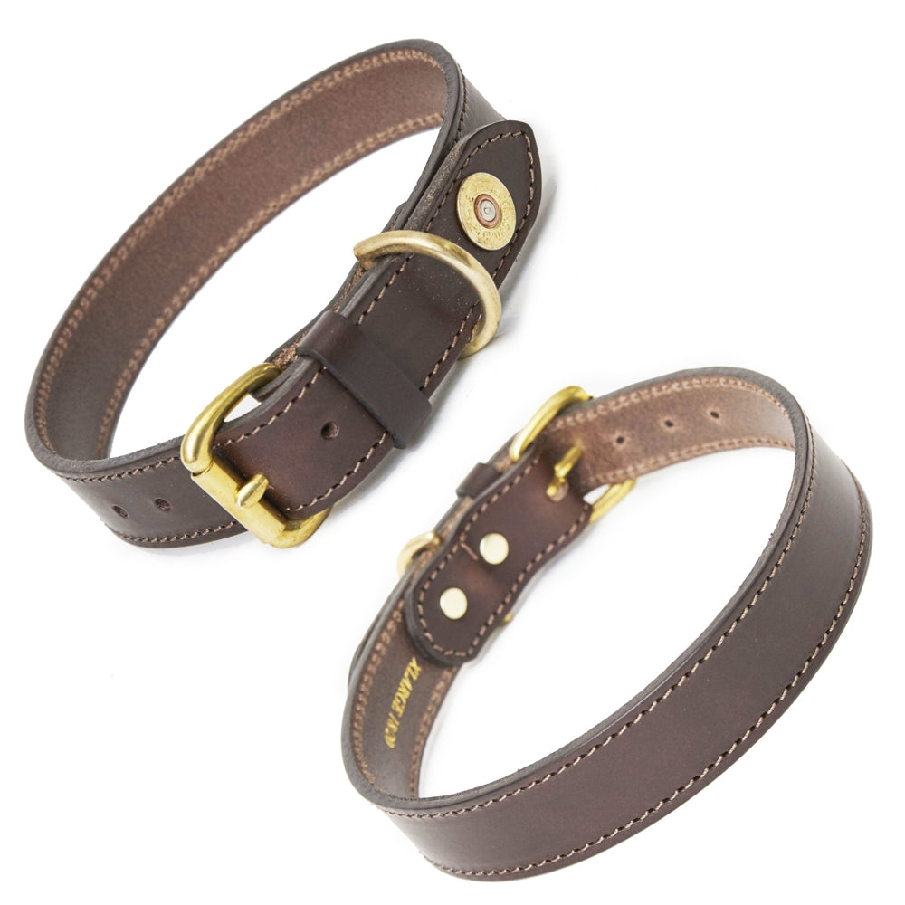 Hicks & Hide Buckland Tip Farmer Dog Collar Brown Leather