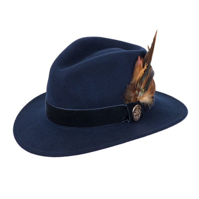 Hicks & Brown Chelsworth Fedora in Navy - RedMillsStore.ie