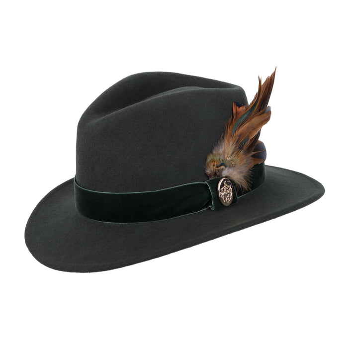 Hicks & Brown Chelsworth Fedora in Olive - RedMillsStore.ie