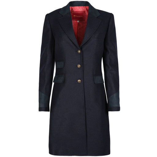 Welligogs Demelza Womens Wool Tweed Coat in Navy - RedMillsStore.ie