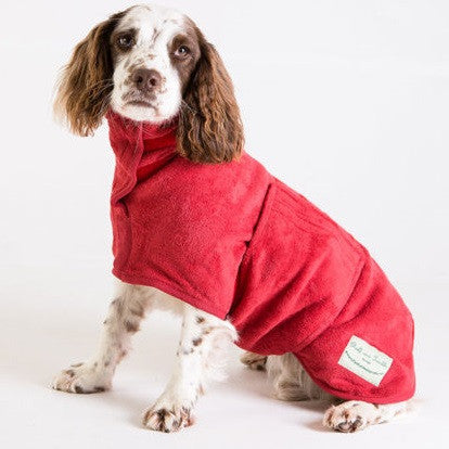 Ruff and Tumble Dog Drying Coat (medium breeds) in red