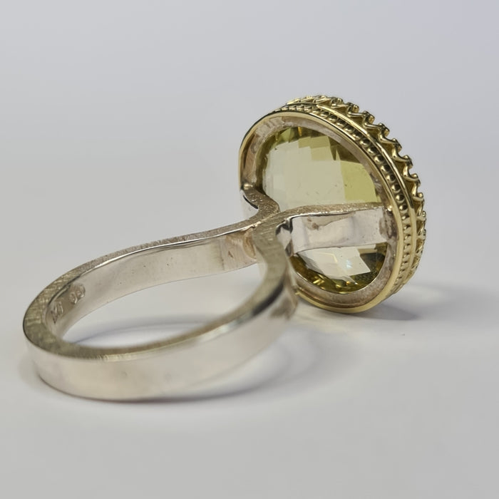 Spirit Women's Silver Princess Ring with Round Citrine Gem