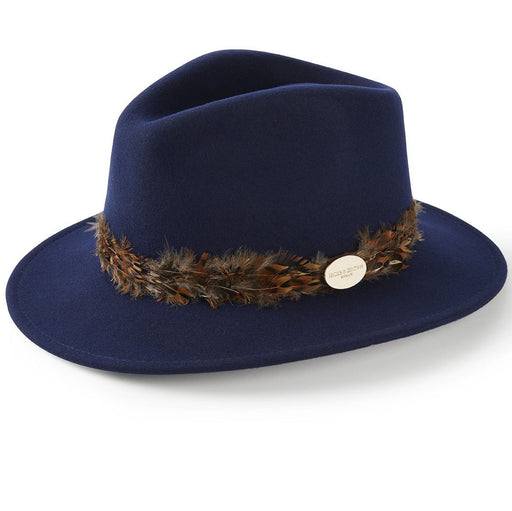 Hicks & Brown 'The Suffolk' Fedora in navy (pheasant feather wrap) - RedMillsStore.ie