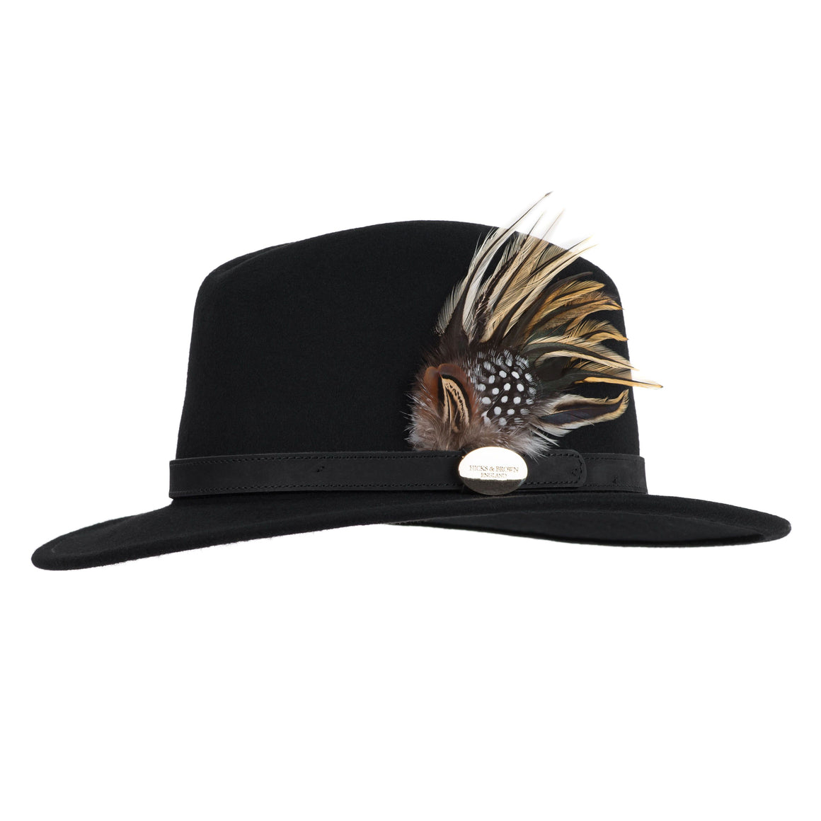 Hicks & Brown 'The Suffolk' Fedora in Black (Guinea and Pheasant Feather)