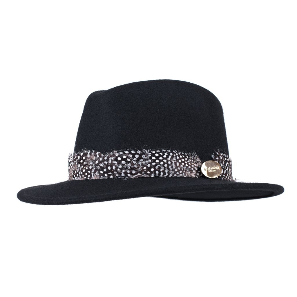 Hicks & Brown 'The Suffolk' Fedora in Black (Guinea Feather Wrap)