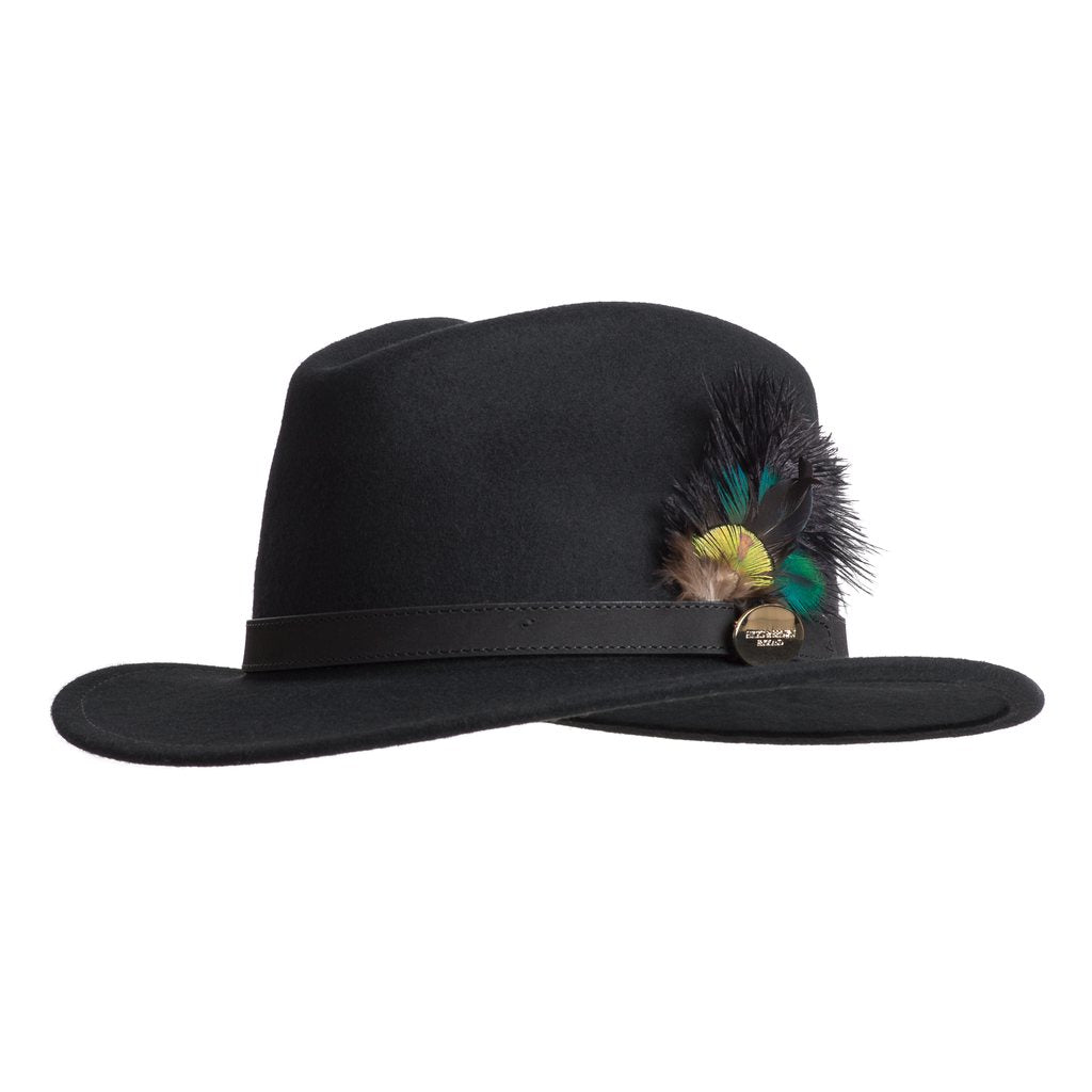 Hicks & Brown 'The Suffolk' Fedora in Black (Ostrich and Peacock Feather)