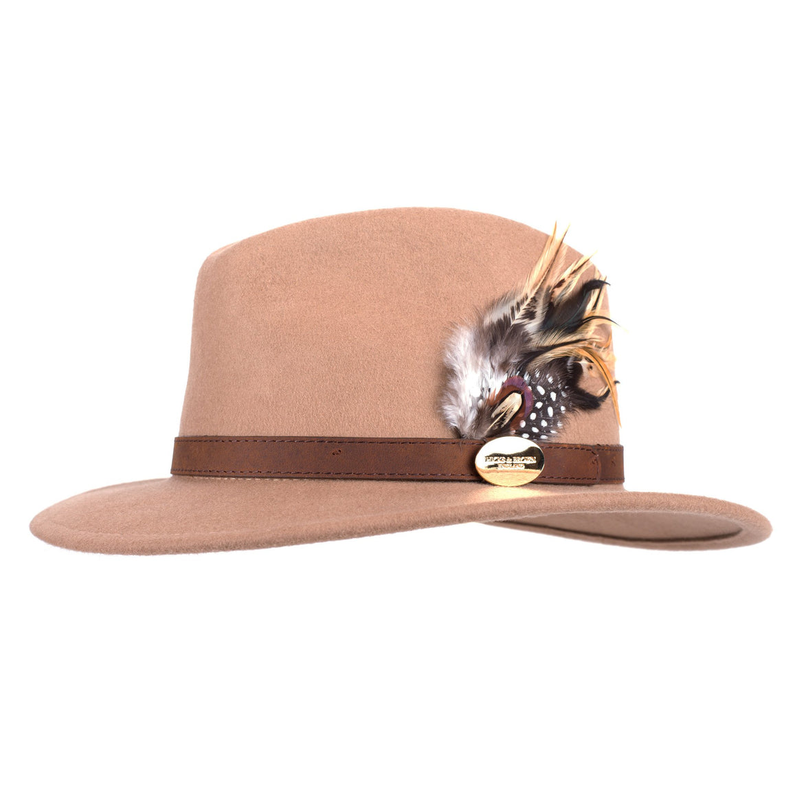 Hicks & Brown 'The Suffolk' Fedora in Camel (Guinea and Pheasant Feather)