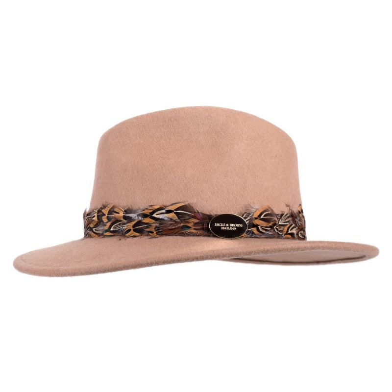Hicks & Brown 'The Suffolk' Fedora in Camel (Pheasant Feather Wrap)