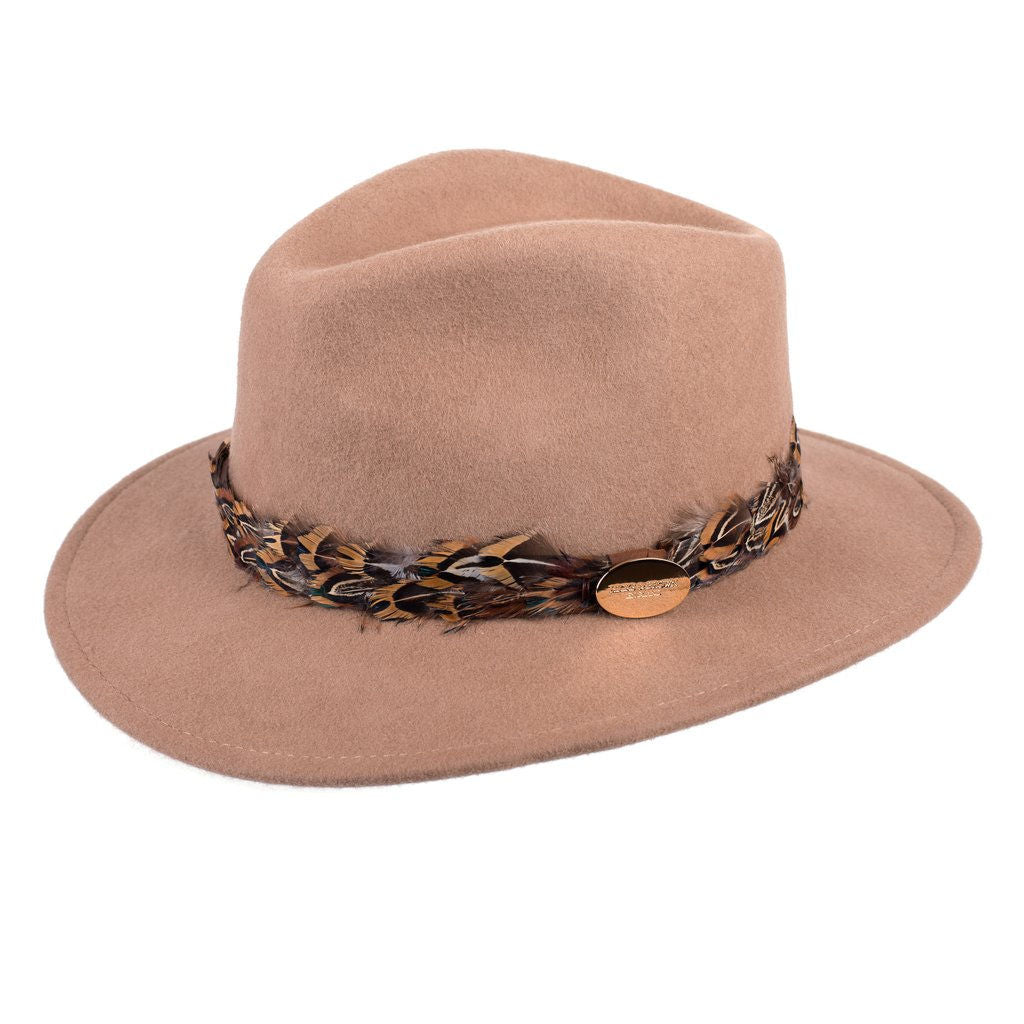 Hicks   Brown  The Suffolk  Fedora in Camel (Pheasant Feather Wrap ... c288daec761