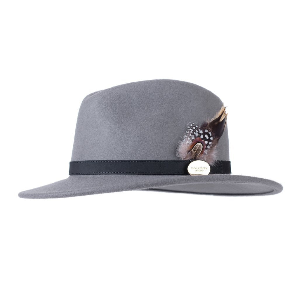 Hicks & Brown 'The Suffolk' Fedora in Grey (Guinea and Pheasant Feather)