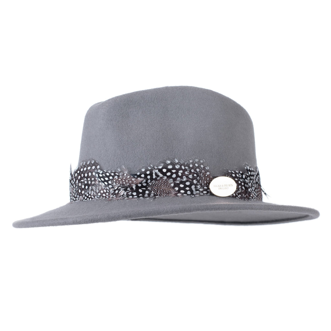 Hicks & Brown 'The Suffolk' Fedora in Grey (Guinea Feather Wrap)