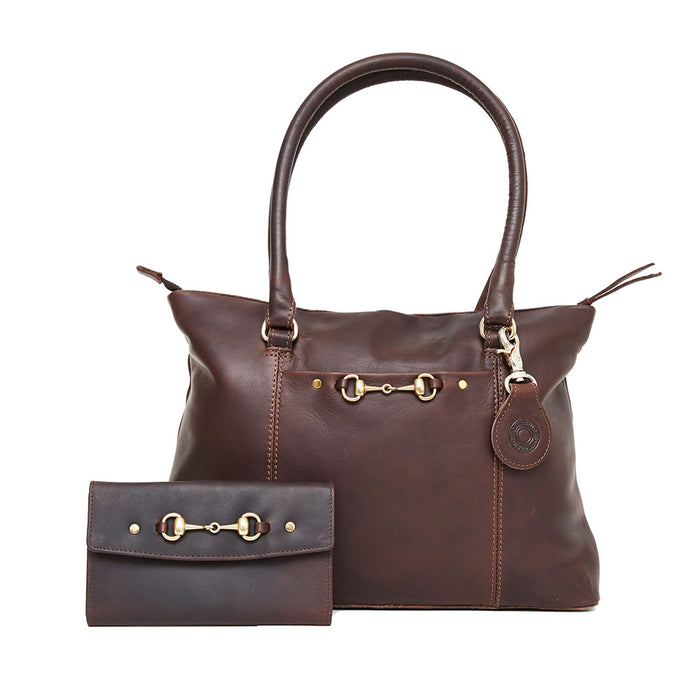 Hicks & Hides Hidcote Bit Leather Purse in Brown