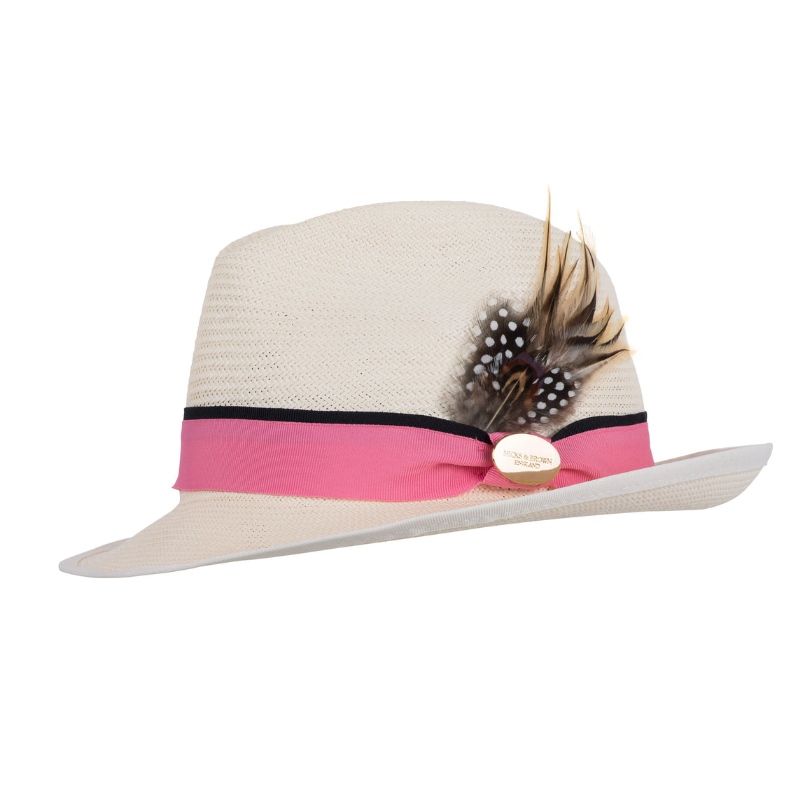 Hicks and Brown The Holkham LUXE Ladies Panama (Pink Ribbon)